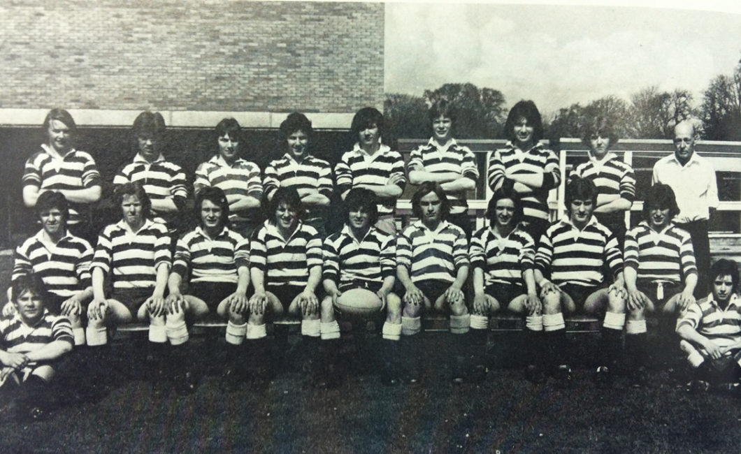 Royal High School Rugby 1st XV from early 1975 with couch Douglas Mitchell. Malcolm McLean Colin Watson Graeme Blackwood Ivor Roy Stephen Sproule Jimmy Littlejohn David Bruce Grant Williams Steve Boyd